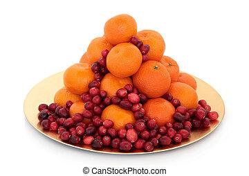 veenbes, en, mandarijn, fruit
