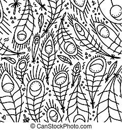 veertjes, seamless, doodle, witte , black , pauw, design., fairytale, pattern., lineair