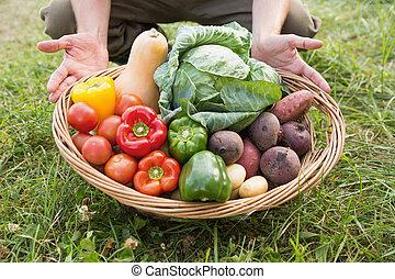 veg, contadino, cestino trasportante