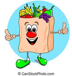 veg, dessin animé, fruit, sac, &