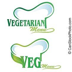 veg, végétarien, symbole, menu