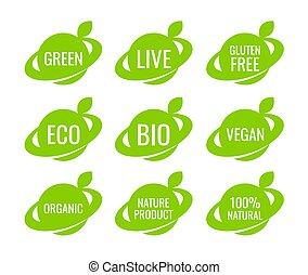 vegan, タグ, 有機体である, ロゴ, ラベル, 緑, 食物