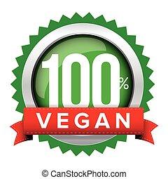 Vegan badge vector with red ribbon