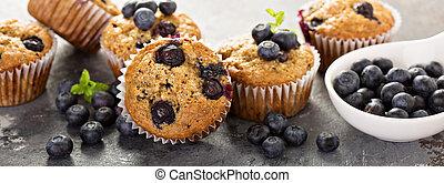 Vegan banana blueberry muffins - Healthy vegan banana...