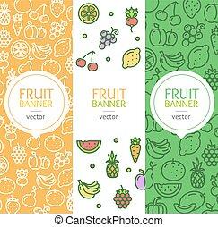 Vegan Banner Flyer Vertical Set. Vector