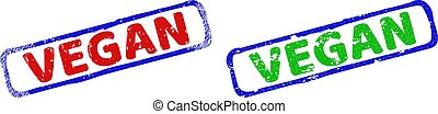 VEGAN Bicolor Rough Rectangle Stamp Seals with Grunge Styles