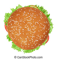 vegan burger with vegetables isolated on white background. Top view