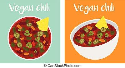 vegan chili bowl illustration vector