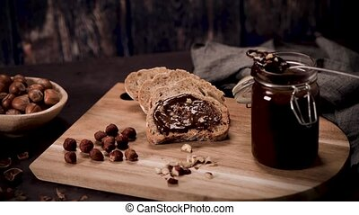Vegan chocolate spread made of organic almond butter and ...