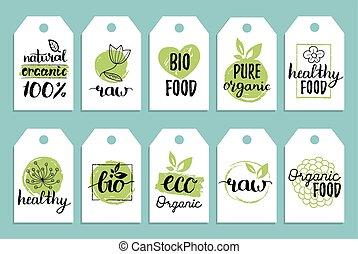 vegan, cibo sano, cartelle, o, etichette, set, per, caffè, imballaggio, ecc., vettore, eco, organico, segni, con, mano, lettering.
