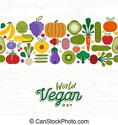 Vegan Day card pattern of fruit and vegetables - World Food...