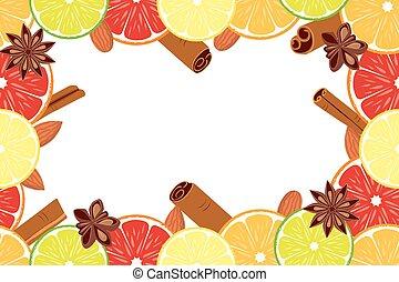 Vegan day colorfull poster fruit citrus background.
