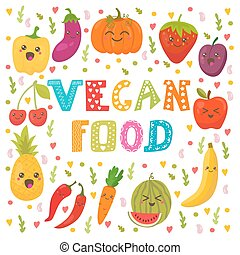 Vegan food. Cute happy fruits and vegetables in vector. Healthy food concept card
