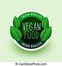 vegan food green leaves label or sticker design