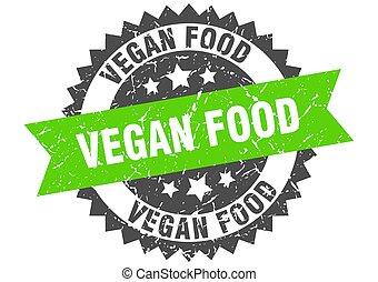 vegan food grunge stamp with green band. vegan food