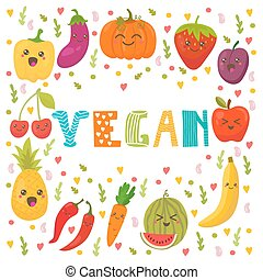 Vegan food. Healthy lifestyle. Cute happy fruits and vegetables in vector. Healthy food concept card