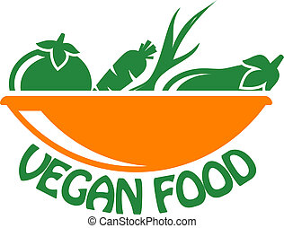 Vegan food icon with vegetables - Vegan food icon in stylish...