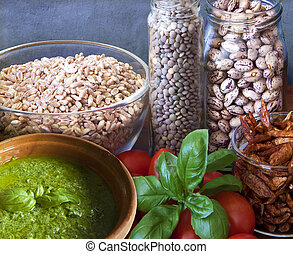 Vegan food, legumes and vegetables