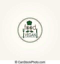 Vegan Food Logo, Organic Food, Restaurant Logo.