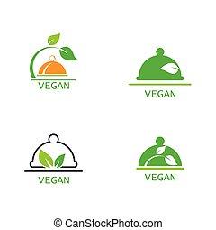 Vegan food logo template