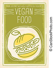 Vegan food promotional banner design with vegan burger with green leaves and sprouts. Healthy eating poster template for vegetarian restaurant. Vector line art illustration.