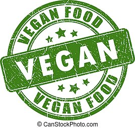 Vegan food rubber stamp isolated on white background