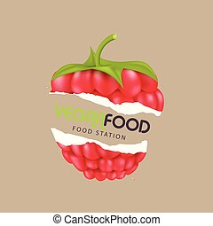 Vegan Food Station Raspberry Background Vector Image
