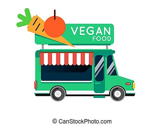 Vegan food truck city car. Vegan Food hipster truck, auto cafe, mobile kitchen, hot fastfood, vegetables. Design elements. Isolated on white. Vegetarian Street food car. Foodtruck Street food van.