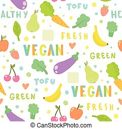 Vegan, fruits and vegetables. Seamless pattern. Vector hand...