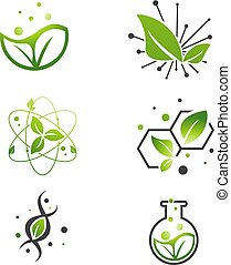 Vegan Green Leaf Abstract Science Lab Set - Vegan Natural...