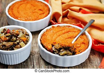 vegan green lentil mushroom sweet potato Shepherds pie....