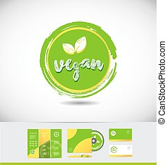 Vegan grunge logo icon badge circle
