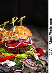 vegan, hamburger, fondo