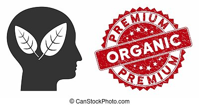 Vegan Head Icon with Distress Premium Organic Stamp
