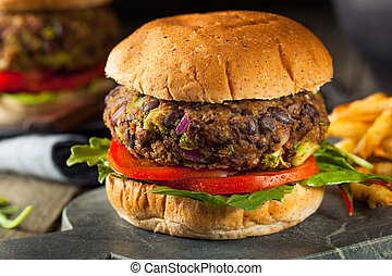 Vegan Homemade Portabello Mushroom Black Bean Burger with...