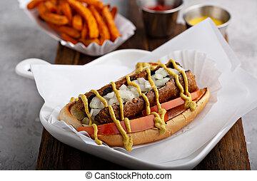 Vegan hot dog with meatless sausage