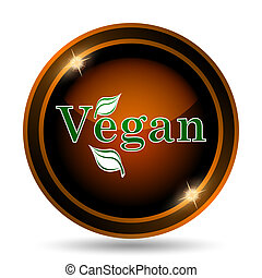Vegan icon. Internet button on white background.