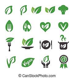 vegan icon set, vecor illustration