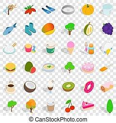 Vegan icons set, isometric style