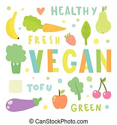 Vegan illustration. Vegetables and fruits