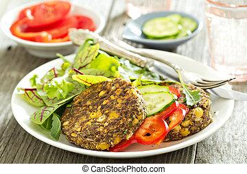 vegan, kichererbsen, burger, mit, salat, und, gemuese
