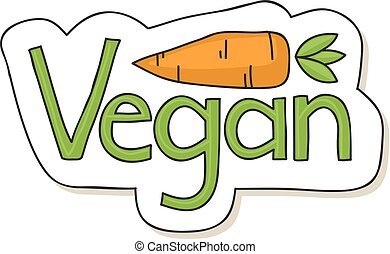 Vegan label - Cute hand drawn vegan label with cartoon...