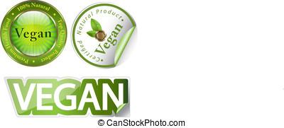 Vegan label set - Creative set of labels for vegan-related...