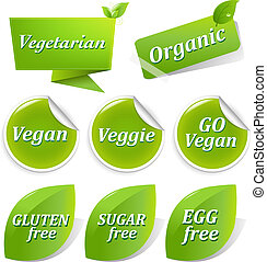 Vegan Labels Big Set - Vegan Food Symbols, Isolated On White...