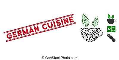 vegan, linha, café, cozinha, colagem, alemão, selo, grunge, ícone