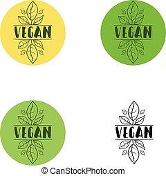 vegan, logo, pictogram