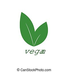 Vegan logo. Vegetarian food diet icon with leaf symbol