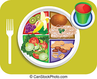 Vegan Lunch Food My Plate - Vector illustration of Vegan or...
