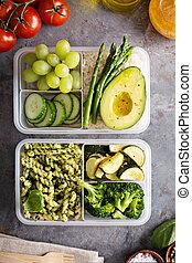 vegan, maaltijd, prep, containers, met, pasta, en, groentes