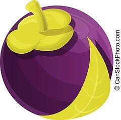 Vegan mangosteen icon, cartoon style